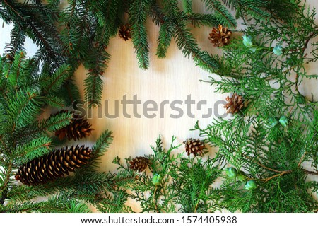 A place for an inscription on a pink background framed by a branch of coniferous branches with cones #1574405938