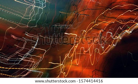 Light painting. Neon glow. Abstract blurred background. Colorful pattern. #1574414416