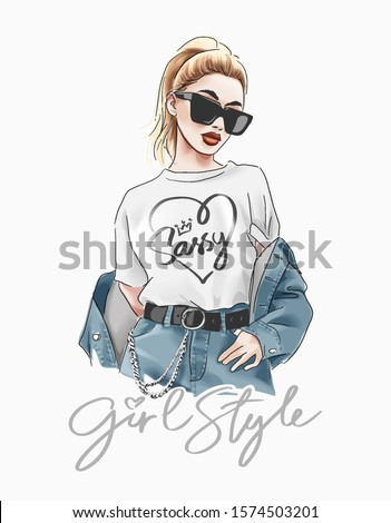 girl style slogan with fashion girl in sunglasses illustration Royalty-Free Stock Photo #1574503201
