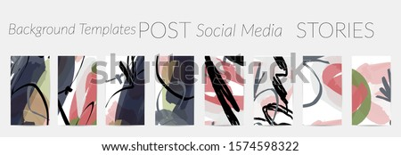 Creative backgrounds for social media. Editable story templates. Pastel colored with hand drawn scribbles promotional backgrounds for social media apps. #1574598322