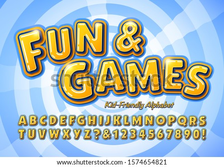 Fun and Games is a kid friendly alphabet; This font is ideal for school or education graphics, toys, games, marketing, television show titles, and anywhere that fun and friendly lettering is needed. Royalty-Free Stock Photo #1574654821