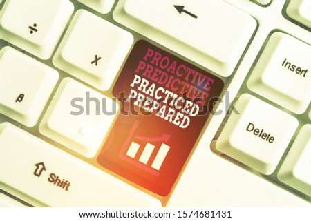 Text sign showing Proactive Predictive Practiced Prepared. Conceptual photo Preparation Strategies Management White pc keyboard with empty note paper above white background key copy space. #1574681431