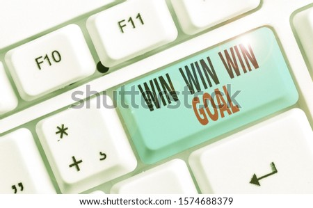 Conceptual hand writing showing Win Win Win Goal. Business photo text Approach that aims to satisfy all parties involved. #1574688379