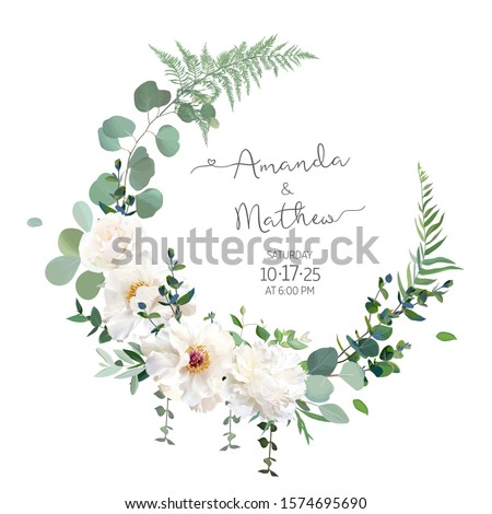 Greenery and white peony, rose flowers vector design round invitation frame. Rustic wedding greenery. Mint, blue, green tones. Watercolor save the date card. Summer rustic style. Isolated and editable #1574695690