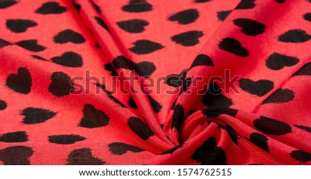 Texture, background, pattern, postcard, silk fabric, red fabric print from black hearts, your projects will not go unnoticed, this fabric will help you with this #1574762515