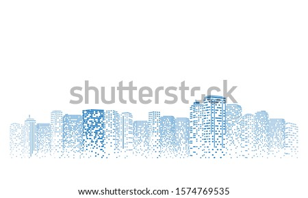 Digital building city Illustration at night, City scene on night time. #1574769535
