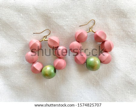 Wooden earrings DIY workshop handmade jewelry crafted work pastel green pink color clean hand craft by artisan #1574825707