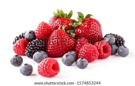 Fresh Berries on the White Background. Ripe Sweet Strawberry, Raspberry, Blueberry, Blackberry   #1574853244