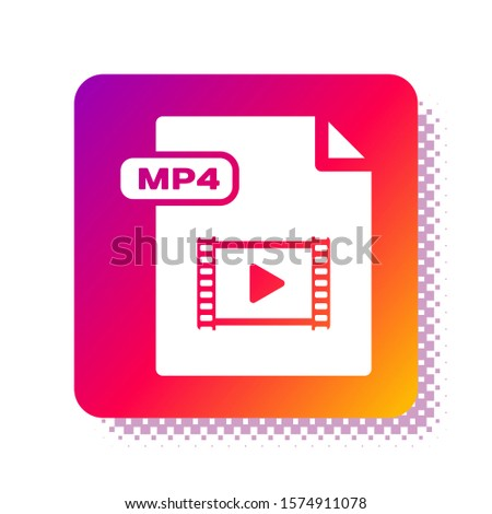 White MP4 file document. Download mp4 button icon isolated on white background. MP4 file symbol. Square color button. Vector Illustration