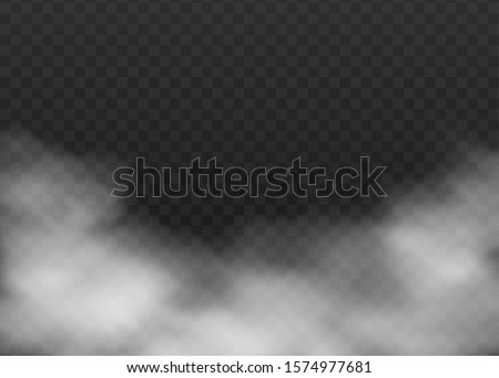 Realistic grey fog frame isolated on dark transparent background - smoke cloud texture for mist or smog effect. Spooky environment decor element vector illustration #1574977681