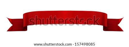 Red satin ribbon isolated on white background Royalty-Free Stock Photo #157498085
