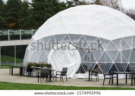 Mobile dome design. A geodesic dome. A hemispherical thin-shell structure (lattice-shell) based on a geodesic polyhedron. #1574992996