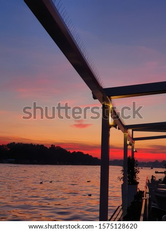 Sunset on the river in Belgrade #1575128620