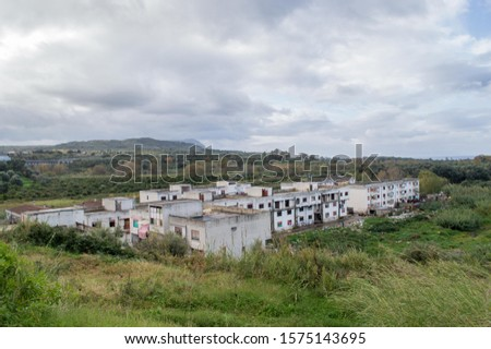 The Ciambra district of Gioia tauro, inhabited by gypsy families, is one of the most degraded places in Italy. Royalty-Free Stock Photo #1575143695