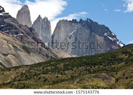 View of the steep peaks of the Torres del Paine granite mountains, Torres del Paine National Park, Magallanes Region, Patagonia, Chile, South America, Latin America, America #1575143776