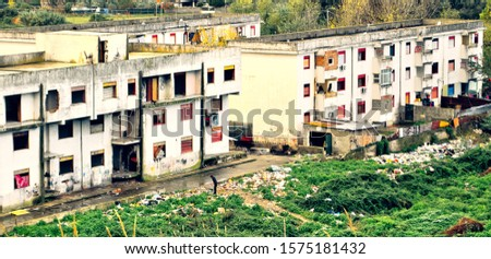 The Ciambra district of Gioia tauro, inhabited by gypsy families, is one of the most degraded places in Italy. Royalty-Free Stock Photo #1575181432