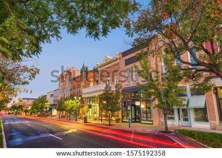 Provo, Utah, USA downtown on Center Street at dusk. Royalty-Free Stock Photo #1575192358