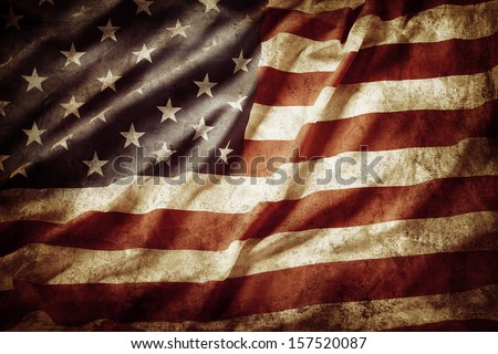 Closeup of grunge American flag Royalty-Free Stock Photo #157520087