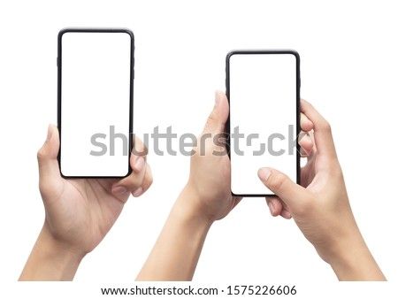 Set of Male hand holding the black smartphone with blank screen isolated on white background with clipping path. #1575226606