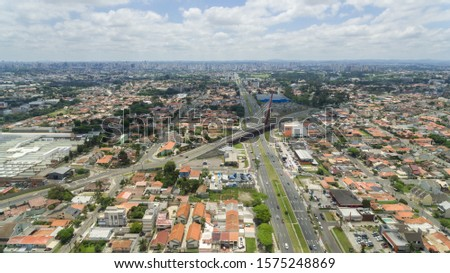Jardim das americas neighborhood in curitiba in parana, a beautiful and kind planned neighborhood in the city of ctba with aerial view made by drone.  #1575248869