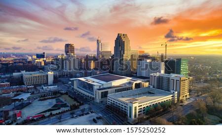 Downtown Raleigh, North Carolina, USA Drone Skyline Aerial Royalty-Free Stock Photo #1575250252