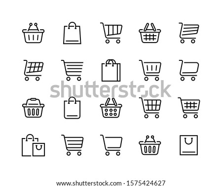Set of shopping cart icons. Collection of web icons for online store, from various cart icons in various shapes. Editable vector stroke 96x96 Pixel Perfect. #1575424627