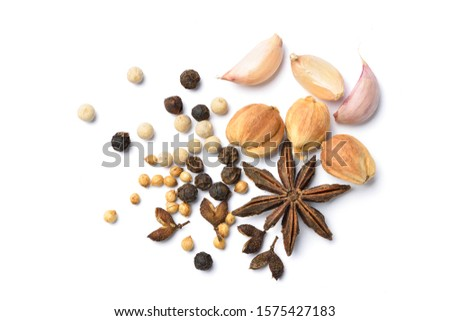 Flat lay (top view) of spices and herbs seasoning on white background.  #1575427183