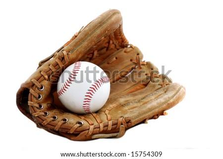 Baseball glove and ball isolated Royalty-Free Stock Photo #15754309