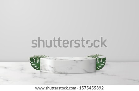 White marble cylinder podium in white background. decor by palm, monstera leaves scene stage mockup showcase for product, sale, banner, discount, presentation, cosmetic, offer. illustration vector. #1575455392