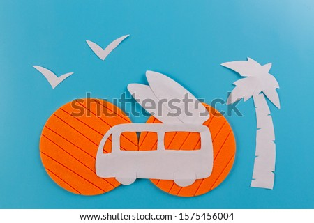 Cartoon styled surf van with surf boards #1575456004