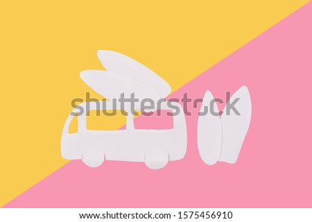 Cartoon styled surf van with surf boards #1575456910