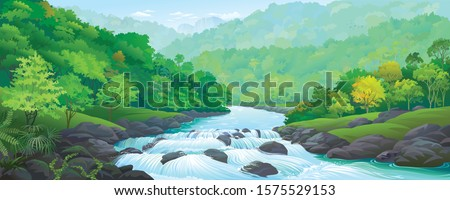 A river stream flowing across thick green forest Royalty-Free Stock Photo #1575529153
