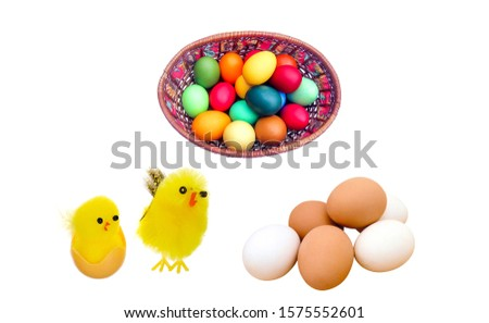 Yellow chickens and easter eggs isolated on white background. Easter eggs with yellow chickens. Easter eggs poster. Easter background #1575552601