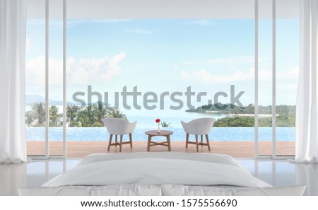 Minimal bedroom with swimming pool and sea view 3d render. White room. Wooden balcony decorated with white furniture. Sliding doors open to see nature. #1575556690