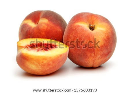 Ripe peach fruit with slice isolated on white background #1575603190