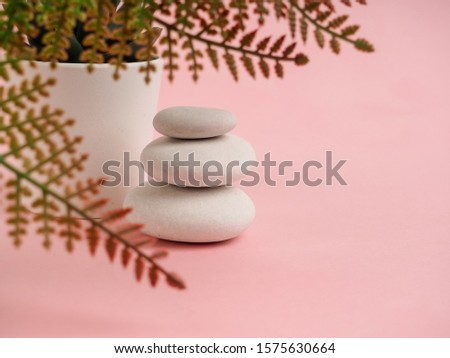 Stack of Zen stones on abstract pink background. Relax still Life with folded stones. Zen pebbles, stones, Spa-calm scenes to slow life the soul of the imperturbable tranquility of the concept #1575630664