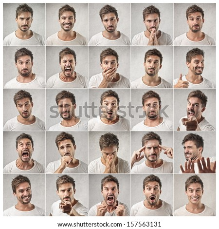 mosaic of young man expressing different emotions Royalty-Free Stock Photo #157563131