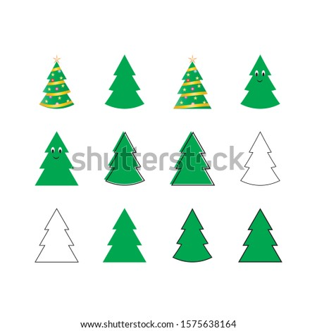 Set of flat vector Christmas tree illustrations isolated on a white background. #1575638164