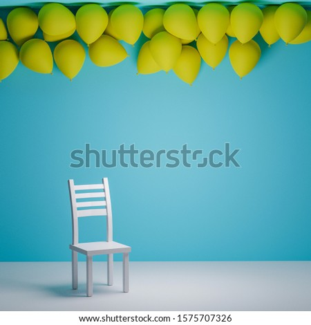 yellow balloons floating in front of a light blue wall, a white chair standing still. 3D rendering #1575707326