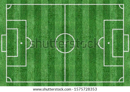 soccer field green top view Royalty-Free Stock Photo #1575728353