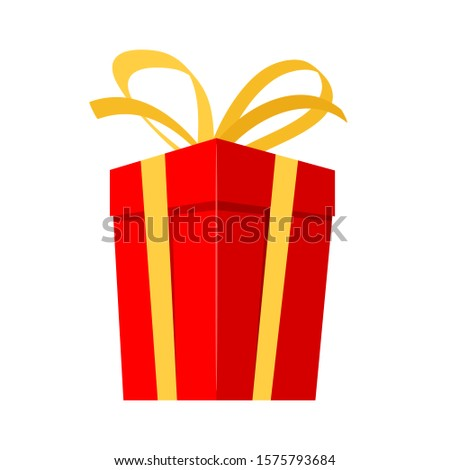 red gift box with gold bow and ribbon for design Christmas greeting card on white, stock vector illustration #1575793684