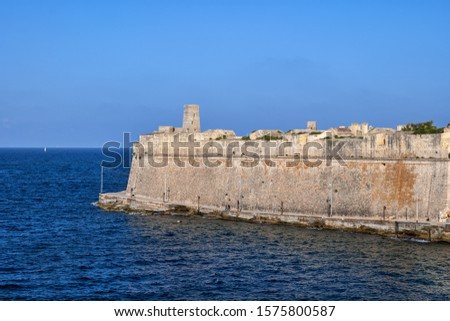 Valletta fortification, defensive stone wall surrounding capital city of Malta on the Mediterranean Sea #1575800587