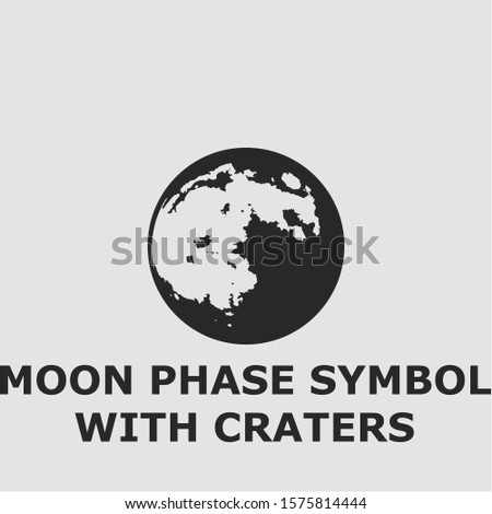 Moon phase symbol with craters symbol. Outline moon phase symbol with craters icon. Moon phase symbol with craters vector illustration for graphic art. #1575814444