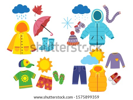 set of children's season clothes - vector illustration, eps      Royalty-Free Stock Photo #1575899359