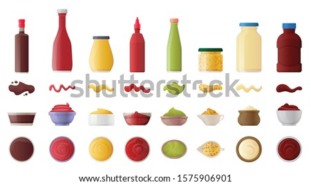 Sauce for bbq realistic vector set icon.Vector illustration icon ketchup and dip. Isolated illustration set bottle and bowl sauce. Royalty-Free Stock Photo #1575906901