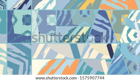 Abstract collage asymmetric pattern. Digital freehand art, grunge texture. Vector patchwork quilt background. Decorative elements, brush strokes ornament for flyer, poster, cover, textile fabric print #1575907744
