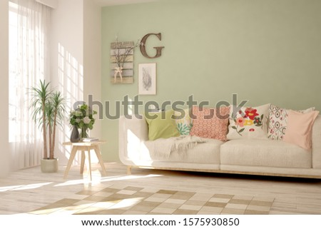 Stylish room in white color with sofa. Scandinavian interior design. 3D illustration #1575930850