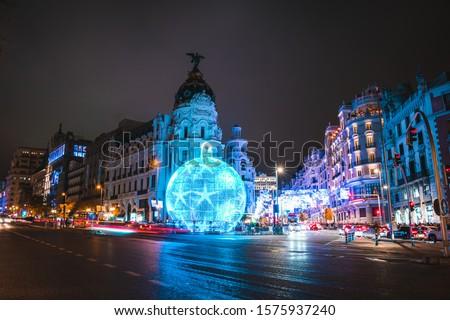 Christmas decorations in Gran Via, Madrid, Spain at night #1575937240