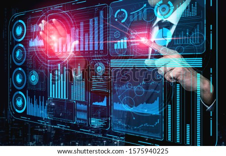 Big Data Technology for Business Finance Analytic Concept. Modern graphic interface shows massive information of business sale report, profit chart and stock market trends analysis on screen monitor. #1575940225