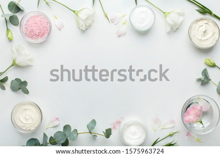 Eco frame of natural spa products on white background, copy space #1575963724